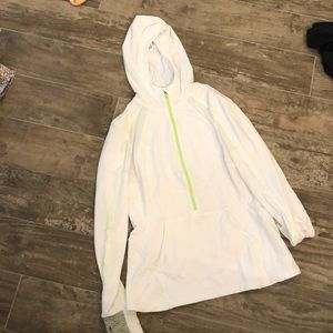 Lululemon white hoodie pullover with lime green